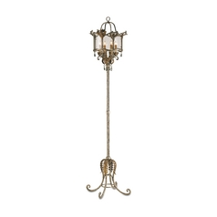 Torchiere Lamp with White Glass in Viejo Gold/silver Finish