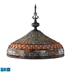 Elk Lighting Jewelstone Classic Bronze LED Pendant Light with Bowl / Dome Shade