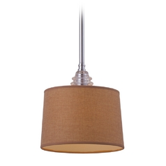 LED Mini-Pendant Light with Brown Shade
