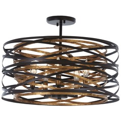 Minka Lavery Vortic Flow Dark Bronze with Mosaic Gold Semi-Flushmount Light