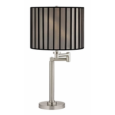 Swing Arm Table Lamp with Black and Opaque Lamp Shade