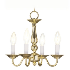 Livex Lighting Williamsburg Polished Brass Mini-Chandelier