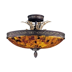 Semi-Flushmount Light with Amber Glass in Cattera Bronze Finish