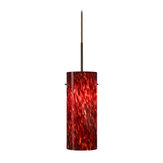 Modern Pendant Light with Red Glass in Bronze Finish