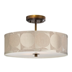 Design Classics Lighting Bronze Drum Shade Semi-Flush Ceiling Light - 16-Inches Wide DCL 6543-604 SH9471