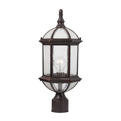 Seeded Glass Post Light Bronze - 19-Inches Tall