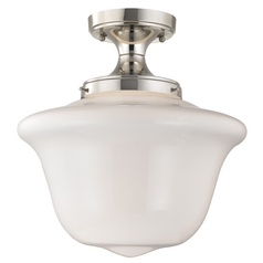 14-Inch Schoolhouse Ceiling Light in Polished Nickel Finish