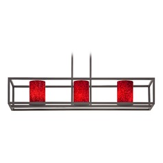 Red Art Glass Linear Chandelier 3-Lights in Bronze