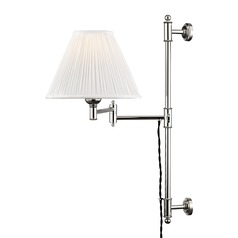 Hudson Valley Polished Nickel Swing Arm Lamp with Off White Silk Shade