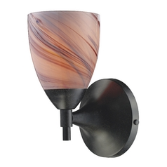 Elk Lighting Art Glass Sconce Wall Light in Dark Rust Finish