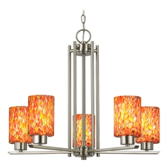 Modern Chandelier with Multi-Color Glass in Satin Nickel Finish