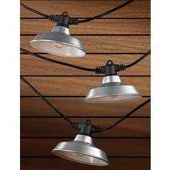 7-Light Outdoor String Light with Galvanized RLM Shades - 35 Feet Long