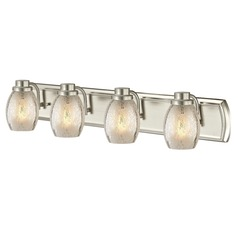 Industrial Mercury Glass 4-Light Bath Vanity Light in Satin Nickel