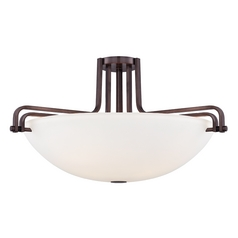 Semi-Flushmount Light with White Glass in Industrial Bronze Finish