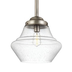 Schoolhouse Pendant Light Seeded Glass Satin Nickel 13.875-Inch Wide by Feiss Lighting