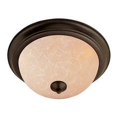 Flushmount Light with Beige / Cream Glass in Oil Rubbed Bronze Finish