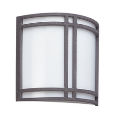 Modern Outdoor Wall Light with White Glass in Olde Iron Finish