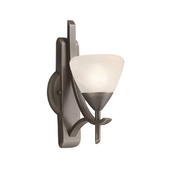 Kichler Sconce Wall Light with White Glass in Olde Bronze Finish