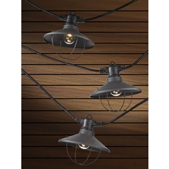7-Light Outdoor String Light with Bronze Caged Cone Shades - 35ft Long