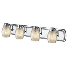Industrial Mercury Glass 4-Light Bath Vanity Light in Chrome