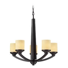 LED Chandelier with Beige / Cream Glass in Oiled Bronze Finish