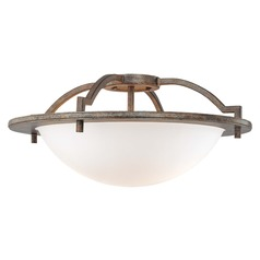 Minka Lavery Compositions Aged Patina Iron Semi-Flushmount Light