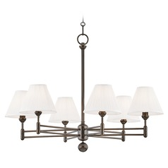 Hudson Valley Distressed Bronze Chandelier with Off White Silk Shade