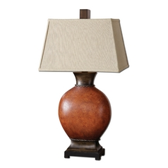 Table Lamp with Beige / Cream Shade in Dark Red Finish
