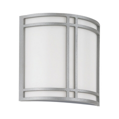 Modern Outdoor Wall Light with White Acrylic in Pewter Finish