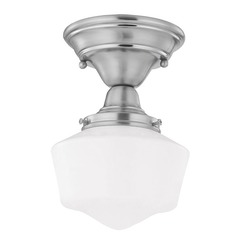 6-Inch Schoolhouse Ceiling Light in Satin Nickel Finish