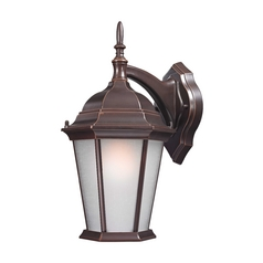 Traditional Outdoor Wall Lantern in Bronze - 15-1/2-Inches Tall