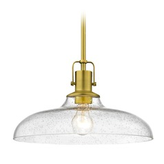 Seeded Glass Farmhouse Brass Pendant Light 14-Inch Wide