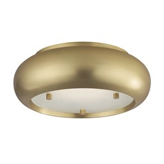 Industrial LED Flushmount Light Brass Mitzi Keira by Hudson Valley