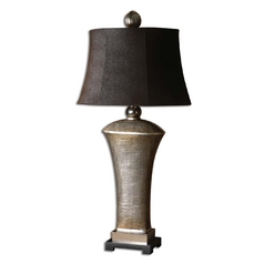 Table Lamp with Brown Shade in Silver Champagne Leaf Finish