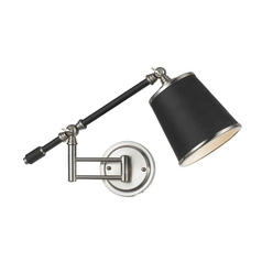 Swing Arm Wall Lamp with Black Shade in Oil Rubbed Bronze Finish