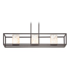 3-Light Mosaic Glass Linear Chandelier in Bronze