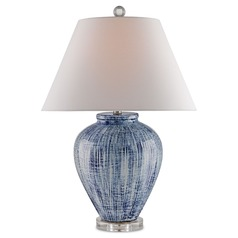 Currey and Company Malaprop Blue/white Table Lamp with Coolie Shade