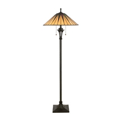 Floor Lamp with Art Glass in Vintage Bronze Finish