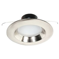 LED Retrofit Trim with Satin Nickel Reflector for 5 or 6 Inch Recessed Cans 3000K 1100 Lumens