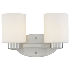 Two-Light Bathroom Light Satin Nickel 11.75-Inch Wide