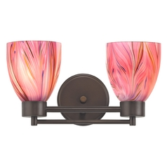 Modern Bathroom Light with Pink Art Glass in Bronze Finish