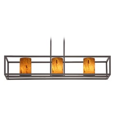 Bronze Linear Chandelier with Cylindrical Shade