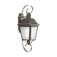 Outdoor Wall Light with White Glass in Antique Bronze Finish