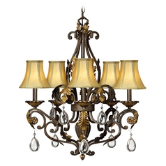 Crystal Chandelier with Brown Shades in Summerstone Finish