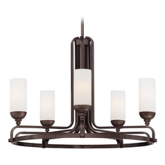 Chandelier with White Glass in Industrial Bronze Finish