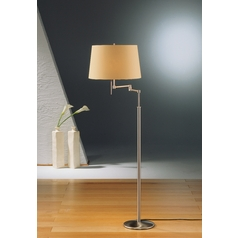 Holtkoetter Modern Swing Arm Lamp with Beige / Cream Shades in Satin Nickel Finish