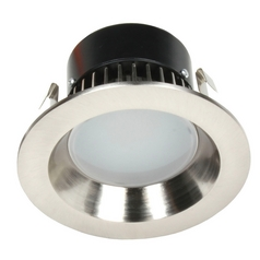 LED Retrofit Trim with Satin Nickel Reflector for 4 Inch Recessed Cans 3000K 700 Lumens