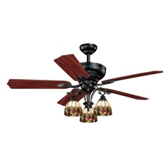 French Country Oil Shale Ceiling Fan with Light by Vaxcel Lighting