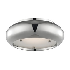 Industrial LED Flushmount Light Polished Nickel Mitzi Keira by Hudson Valley