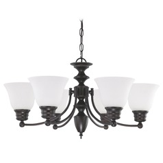 Chandelier with White Glass in Mahogany Bronze Finish